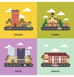 Urban landscape 4 flat icons banner vector image vector image