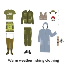 Warm weather fishing clothes flat set vector