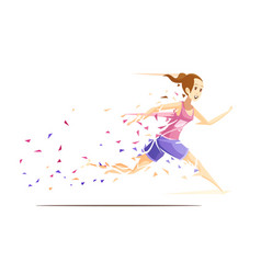 Woman runner metafan concept vector