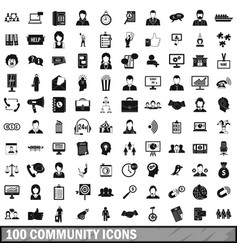 100 community icons set simple style vector