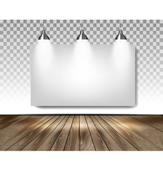 Grey room with three lights and wooden floor vector