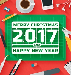 Flat Design Merry Christmas 2017 vector image