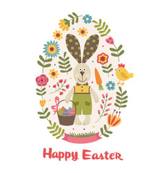 Happy easter greeting card with bunny vector