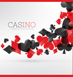 Casino playing cards symbols floating in gray vector