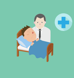 Doctor and patient care on bed and cure symbol vector