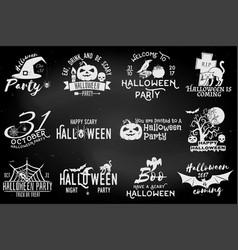 Set of halloween party badges vector