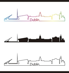 Dublin skyline linear style with rainbow vector image