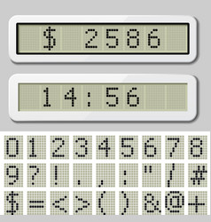 Lcd display pixel font - number symbol characters vector
