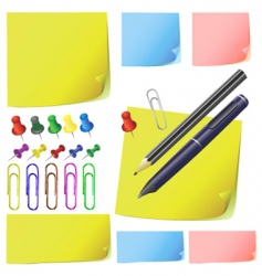 Post it note paper pencil vector