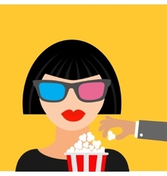 Brunet girl at the cinema theatre in 3d glasses vector