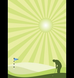 golfer silhouette in countryside portrait vector image