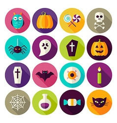 Flat halloween trick or treat circle icons set vector