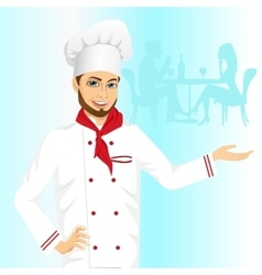 Cheerful male hipster chef holding something vector