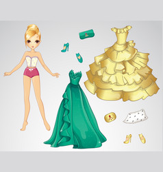 Paper dall in green and gold dress vector
