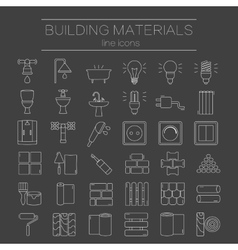 Set of line icons for diy construction building vector