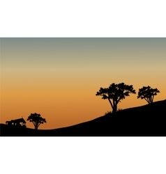 Landscape at sunset with trees vector