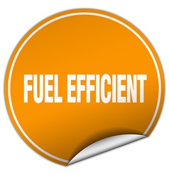 Fuel efficient round orange sticker isolated on vector