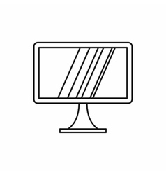 Computer monitor icon outline style vector