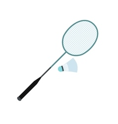 Badminton racket and shuttlecock flat icon vector
