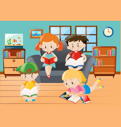 boys and girls reading in living room vector image