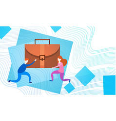 Business people group team hold suitcase vector