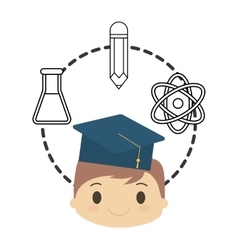 Cartoon boy student graduation school chemistry vector