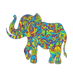 colorful hand drawn zentagle of an elephant vector image