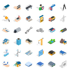 Construction site icons set isometric style vector