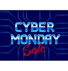 Cyber Monday Lettering with Circuit Board vector image