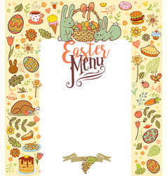 Easter menu card vector