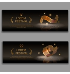Festival movie banners camera film 35 mm roll vector