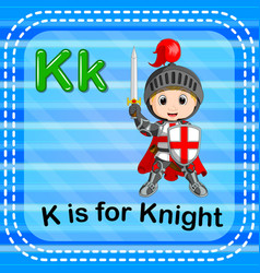 Flashcard letter k is for knight vector