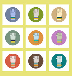 Flat icons set of ukrainian patriotism items vector