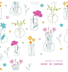 Fresh flowers in vases frame corner pattern vector