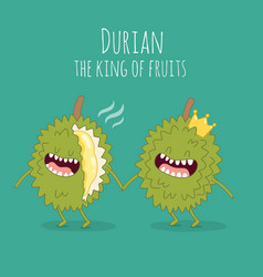Funny durian fruits vector