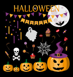 halloween party icon flat vector image vector image