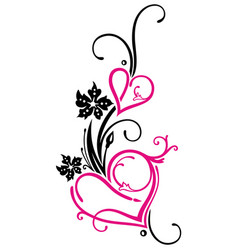Hearts with flowers vector