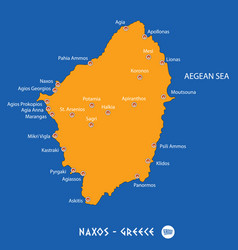 Island of naxos in greece orange map and blue vector