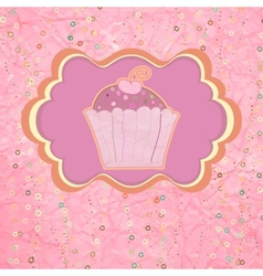Label with cupcake on pink with polka dots EPS 8 vector image vector image