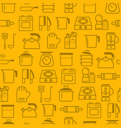 Line style icons seamless pattern icons kitchen vector