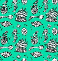 Mermaid and pirate pattern vector
