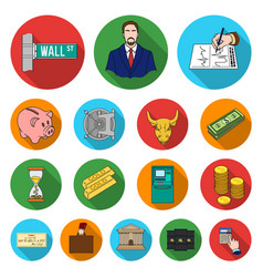 Money and finance flat icons in set collection for vector
