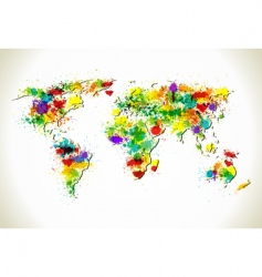 paint splashes world map vector image vector image