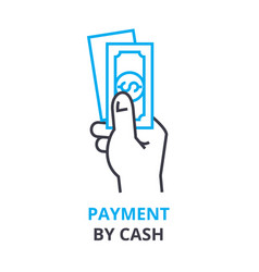 payment by cash concept outline icon linear vector image vector image