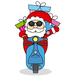 Santa Claus handing out gifts on motorcycle vector image