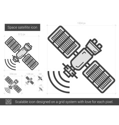 Space satellite line icon vector