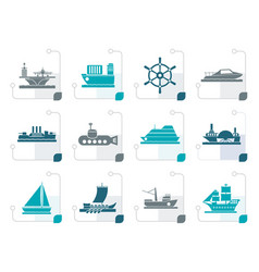 Stylized different types of boat and ship icons vector