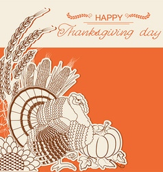 Thanksgiving day card with turkey bird and vector