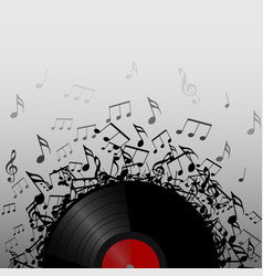 vinyl record with music notes vector image