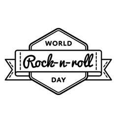 World rock-n-roll day greeting emblem vector